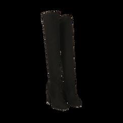 Overnkee neri in microfibra, tacco 10 cm , Stivali, 142179696MFNERO035, 002a
