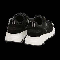 Sneakers nere in tessuto tecnico, zeppa 4 cm , Primadonna, 162801993TSNERO035, 004 preview