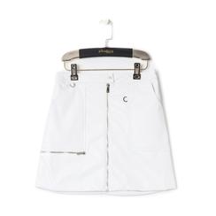 Minigonna bianca in eco-pelle con zip, Abbigliamento, 136501801EPBIANL, 001 preview