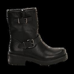 Biker boots con fibbie neri in eco-pelle, tacco 4,5 cm , Stivaletti, 14A702711EPNERO035, 001 preview