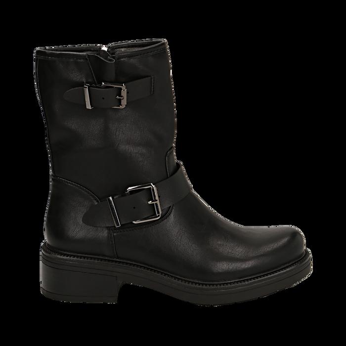 Biker boots con fibbie neri in eco-pelle, tacco 4,5 cm , Stivaletti, 14A702711EPNERO035