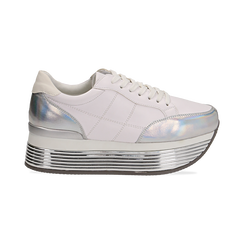 Sneakers bianche in eco-pelle con platform argento, Scarpe, 130751703EPBIAR036, 001 preview
