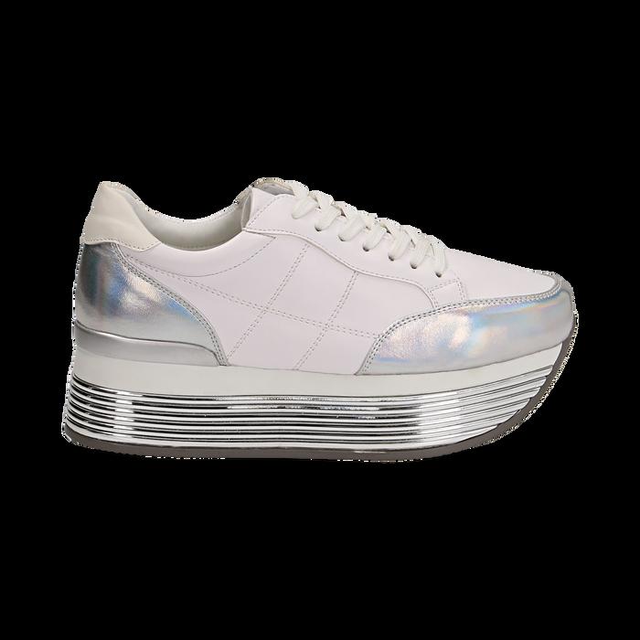 the latest da910 6fac1 Sneakers bianche in eco-pelle con platform argento