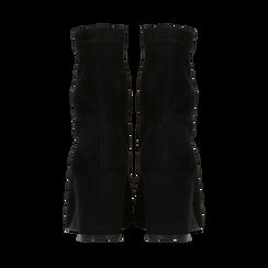 Ankle boots neri in microfibra, tacco 7,5 cm , Stivaletti, 143072170MFNERO035, 003 preview