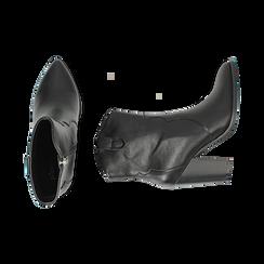 Camperos neri in eco-pelle, tacco 9 cm, Stivaletti, 154930037EPNERO035, 003 preview