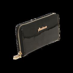 Portafogli nero in vernice, Borse, 155122519VENEROUNI, 002 preview