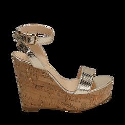 Sandali oro in eco-pelle snake print, zeppa 12 cm , Zapatos, 154985241EVOROG039, 001a