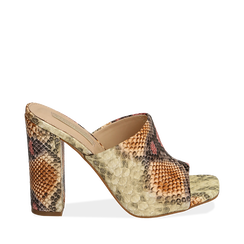 Mules rosa/beige in eco-pelle snake print, tacco 10,50 cm, Chaussures, 152709445PTRSBE036, 001a