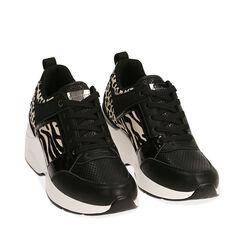 Sneakers nere, zeppa 7,5 cm , Primadonna, 182663020EPNERO035, 002a