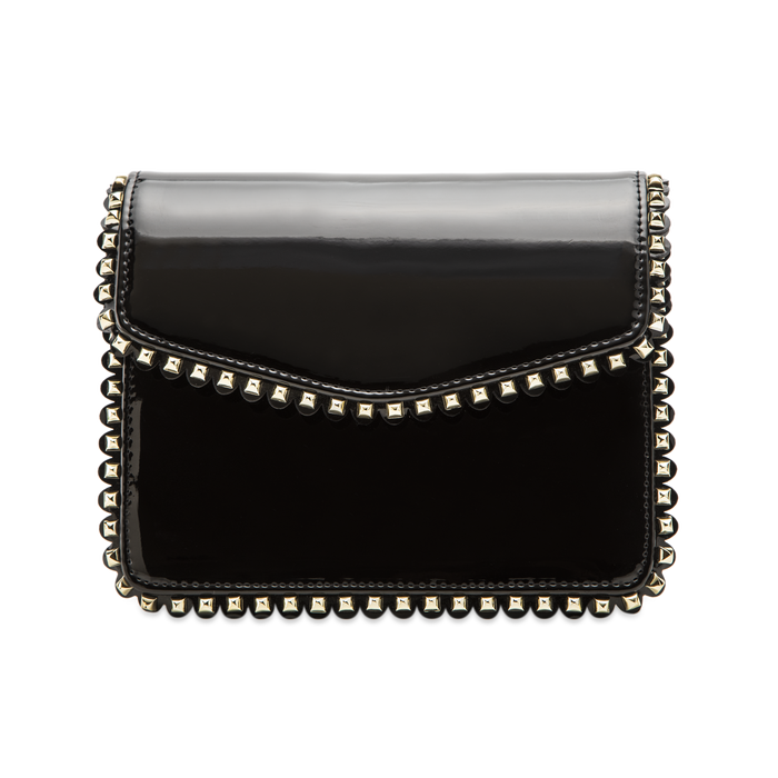 Pochette con tracolla nera in ecopelle vernice, profili mini-borchie, Saldi Borse, 123308852VENEROUNI