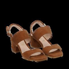 Sandali cuoio in camoscio, tacco chunky 6 cm, Saldi, 13D602056CMCUOI035, 002a