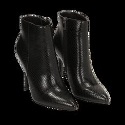 Ankle boots neri effetto snake, tacco 11 cm , Stivaletti, 142182015EVNERO036, 002a