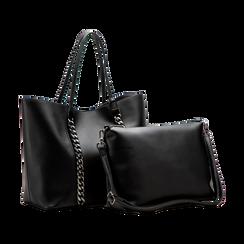 Borsa shopper nera in ecopelle con profilo catene, Saldi, 125702054EPNEROUNI, 004 preview