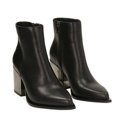 Ankle boots neri in eco-pelle, tacco metal 8 cm , Primadonna, 142182641EPNERO036, 002a