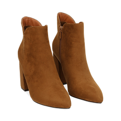Ankle boots cuoio in microfibra, tacco 9 cm , Primadonna, 162709165MFCUOI035, 002 preview