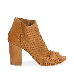 Botines open toe en vitello color cuero, tacón 9 cm, Zapatos, 15A217013VICUOI038, 001a