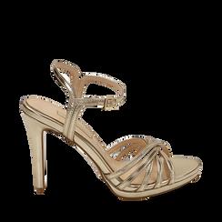 Sandali multilistino oro in eco-pelle laminata, tacco 10,50 cm , Sandali con tacco, 152174020LMOROG035, 001a