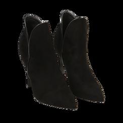 Ankle boots neri in microfibra, tacco 10,50 cm , Primadonna, 162123720MFNERO035, 002a