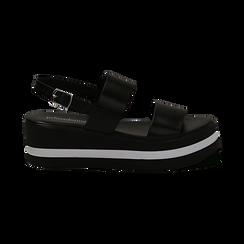 Sandali platform neri in eco-pelle, zeppa 5 cm , Primadonna, 132147512EPNERO036, 001 preview