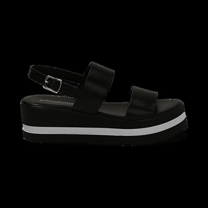 Sandali platform neri in eco-pelle, zeppa 5 cm , Primadonna, 132147512EPNERO036