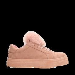 Sneakers nude con pon pon in eco-fur, Primadonna, 121081755MFNUDE035, 001a