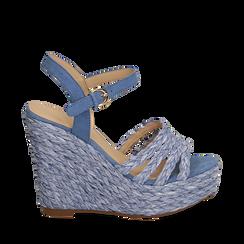 Sandali azzurri in rafia, zeppa 12 cm , Zapatos, 154978888RFAZZU038, 001a