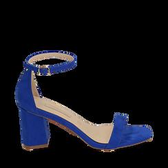 Sandali blu cobalto in microfibra, tacco 7 cm, Scarpe, 152117602MFBLCO035, 001a