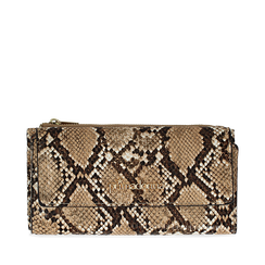 Portafogli beige in eco-pelle effetto snake skin, Borse, 132300002PTBEIGUNI, 001a