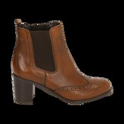 Ankle boots cuoio in pelle, tacco 7,50 cm, Primadonna, 167738004PECUOI037, 001 preview