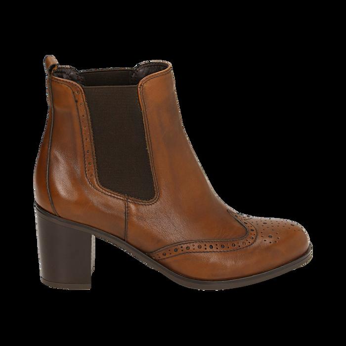 Ankle boots cuoio in pelle, tacco 7,50 cm, Primadonna, 167738004PECUOI036