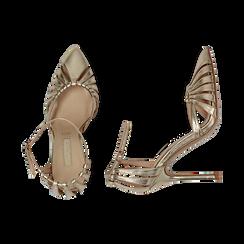 Décolleté laminado con tira color oro, tacón 11 cm , Zapatos, 152168657LMOROG037, 003 preview