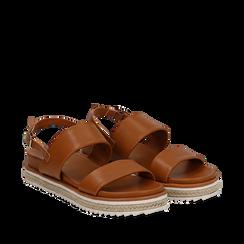 Sandali platform cuoio in eco-pelle, zeppa 4 cm, Saldi Estivi, 132172081EPCUOI035, 002a
