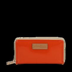 Portafoglio arancio in pvc, Borse, 133732328PVARANUNI, 001a