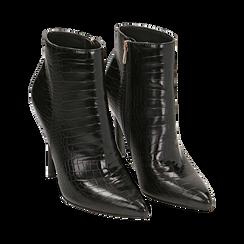 Ankle boots neri stampa cocco, tacco 11 cm , Stivaletti, 142168616CCNERO035, 002 preview