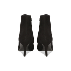 Tronchetti neri in vero camoscio, tacco midi 8 cm, Scarpe, 12D618502CMNERO, 003 preview