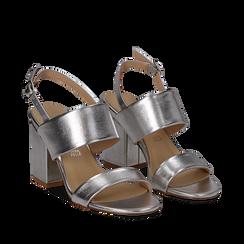 Sandali doppia fascia argento in laminato, tacco 9 cm, Saldi, 132177304LMARGE035, 002a