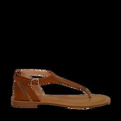 Sandali infradito cuoio in eco-pelle, Saldi Estivi, 134958215EPCUOI035, 001a