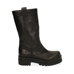 Bikers neri in pelle di vitello, tacco 5 cm , Primadonna, 168900638VINERO036, 001a