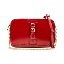 Camera bag bordeaux con tracolla, ecopelle vernice, Saldi, 121818008VEBORDUNI, 001 preview