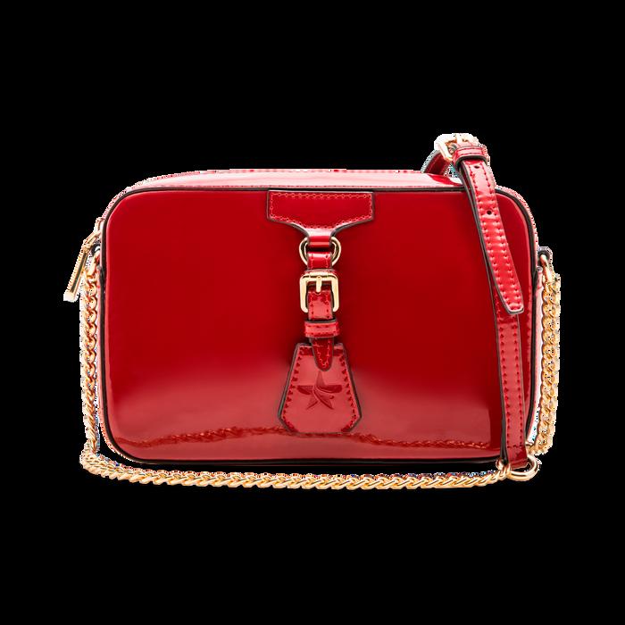 Camera bag bordeaux con tracolla, ecopelle vernice, Borse, 121818008VEBORDUNI