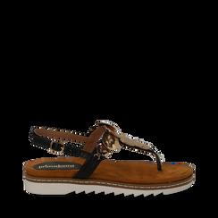 Sandali infradito neri in eco-pelle con suola bianca, Scarpe, 134922304EPNERO035, 001a