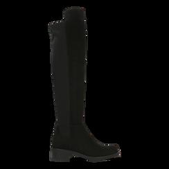 Stivali neri scamosciati con gambale alto, tacco 3 cm, Primadonna, 122808641MFNERO036, 001a