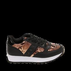 Sneakers marron imprimé python, Primadonna, 162619079PTMARR035, 001a
