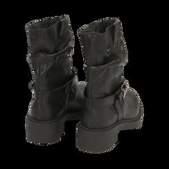 Biker boots neri in pelle con fibbia, Stivaletti, 147200635PENERO036, 003 preview