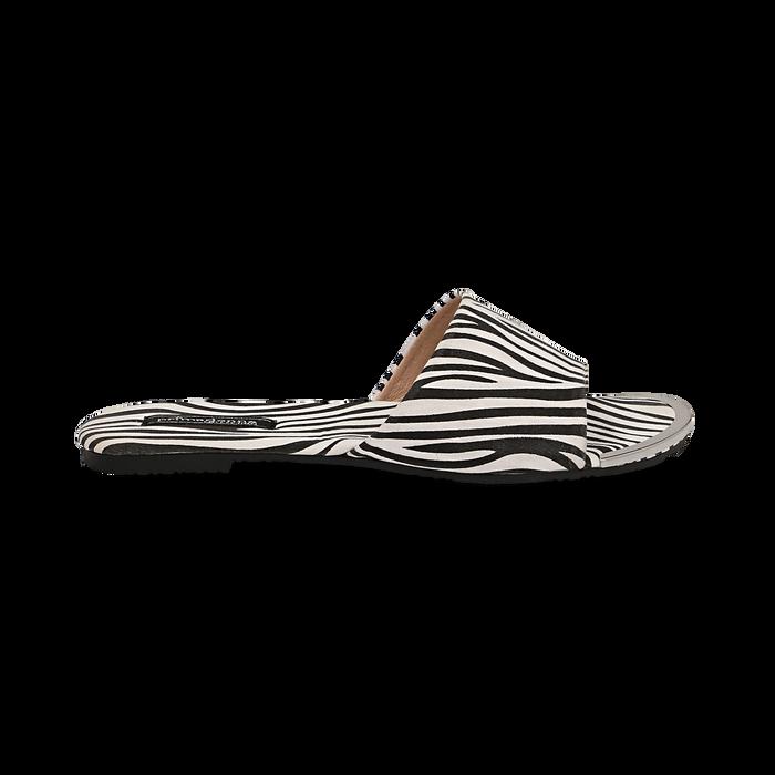 Mules flat zebrate in microfibra, Primadonna, 134989113MFZEBR036