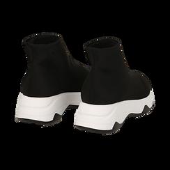 Sneakers a calza nere in lycra, zeppa 5 cm , Scarpe, 142008357LYNERO036, 004 preview