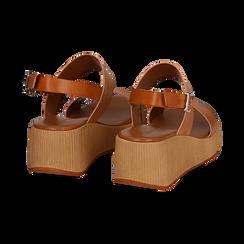 Sandali platform cuoio in eco-pelle, zeppa 5 cm , Saldi, 13C700258EPCUOI036, 004 preview