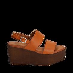 Sandali platform cuoio in eco-pelle, zeppa 8 cm, Saldi, 136700012EPCUOI035, 001a
