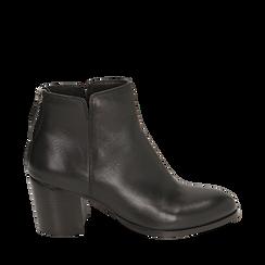 Ankle boots neri in pelle di vitello, tacco 6,50 cm, Primadonna, 15J492410VINERO035, 001a