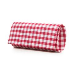 Clutch bianco/rossa in tessuto stampa Vichy, Borse, 133308825TSBIROUNI, 004 preview